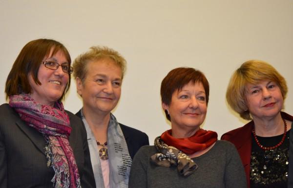 Uschi Cooke, Prof.Dr. Herta Däubler-Gmelin, ich und Dr. Monika Pohl als Mitglied des Kuratoriums der Ludwig-Marum-Stiftung bei der Preisverleihung
